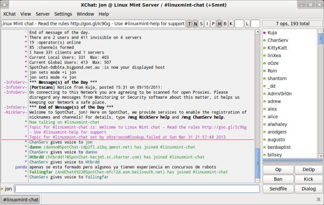 XChat: jon @ Linux Mint Server - -linuxmint-chat (+Smnt)_006
